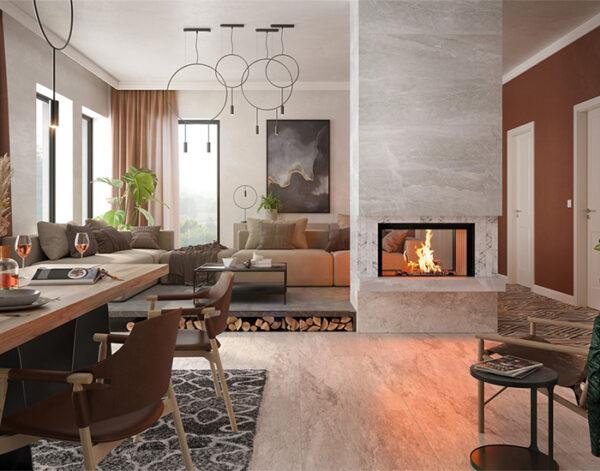 En inspirationsbild av braskamin med tunnelseende, som möbel och rumsavdelare.