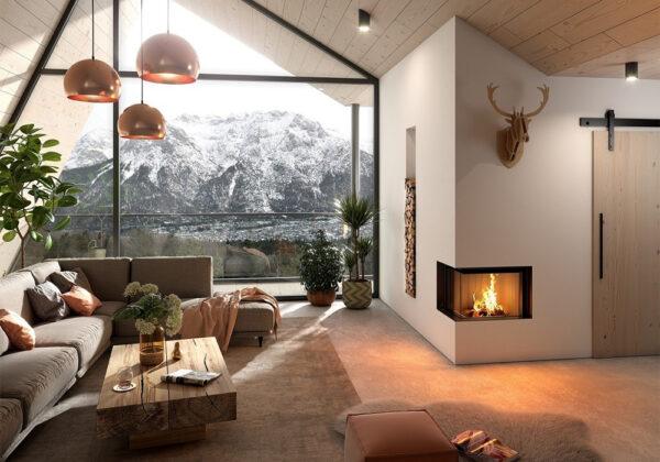 En inspirationsbild av platsbyggd braskamin med inbyggd vedförvaring