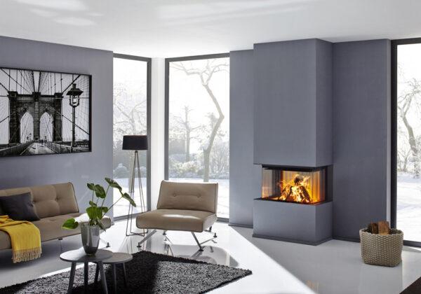 En inspirationsbild av en designad och platsbyggd eldstad i hemmet.