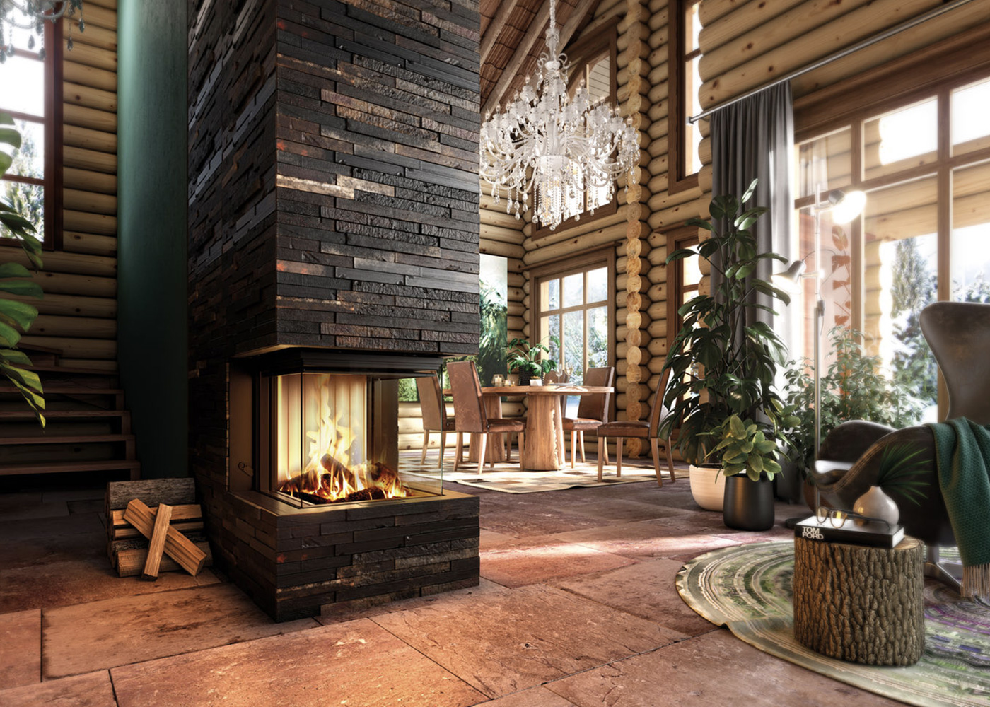 En inspirationsbild av en rustik braskamin i fjällstuga med en ombonad känsla.