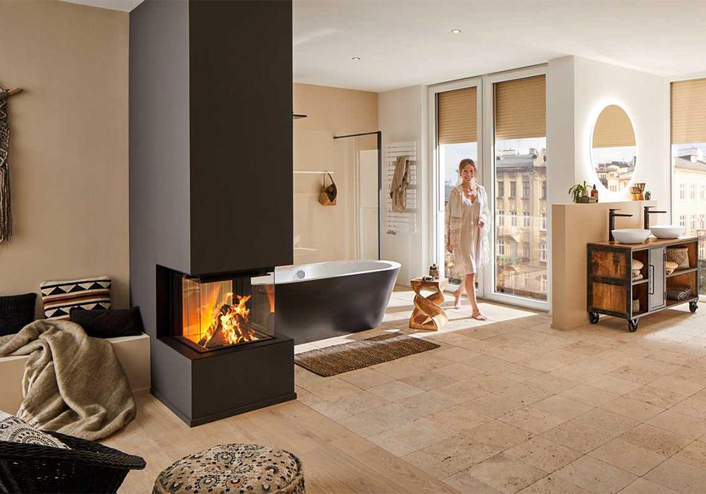 En inspirationsbild av eldstad med enkel design